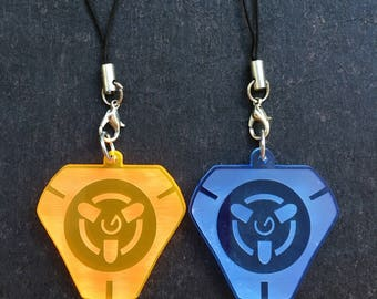 Overwatch Tracer Keychain, Pulse Bomb Symbol (transparent acrylic, laser-cut)