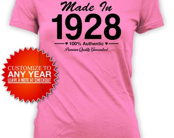 90th Birthday T Shirt Birthday Gifts For Women Custom Birthday Shirt Bday Present For Her Bday Gift Made In 1928 Birthday Ladies Tee - BG417