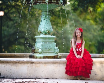 Princess Dress, Boho Flower Girl Dress, Cupcake Dress, Girls Ruffle Dress, Girls Floral Dress, Christmas Dress, Valentine Dress