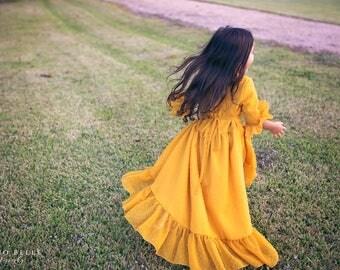 Bohemian Hi Low Mustard Yellow Dress for Girls, Boho Flower Girl Dress, Hi Low Dress, Toddler Dresses, Vintage Style Dress