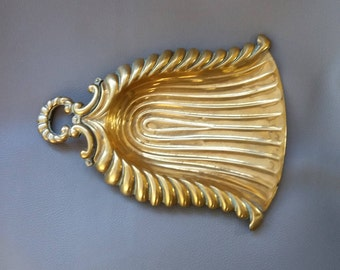 Art Deco pure brass Crumb Tray, in a stylish fluted design of the period