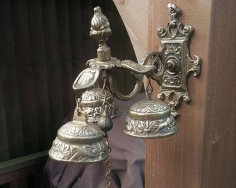 Solid Brass, Monastery, Sanctuary, Angelus, Bells, with three bells, each having a differring  harmonious ring