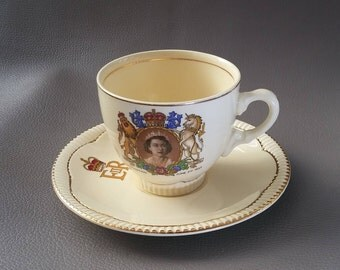 Vintage, Clarice Cliff, Coronation Cup, and Saucer, Queen Elizabeth,  Coronation, Queen of England, 1953, Lion and Unicorn, Newport Pottery