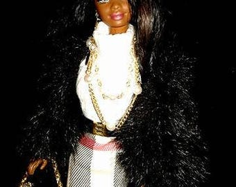 Burburry ooak AA  barbie doll with straight black hair