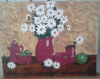 Potery Vase with Daisies