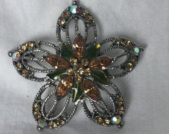 Beautiful Vintage Brooch, Multicolored Stones