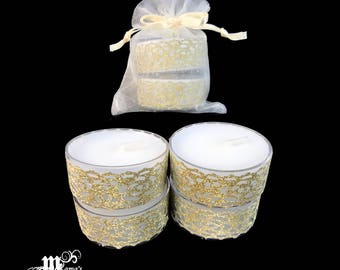 "Unscented Tea Lights with Gold Lace, 1.5""w x 0.6""h, Organza Pouch (x3), Sparkly, Wedding, Bride, Dinner, Long-lasting, Candles"