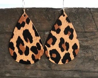 Leopard teardrop leather earrings, leather earrings, statement earrings, drop earrings
