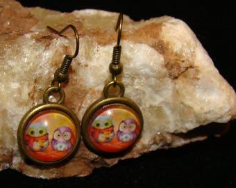 Cute Orange Owl Couple  Hook Earings