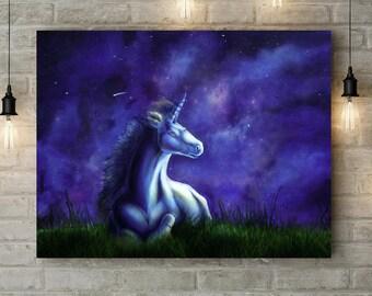 Unicorn, Unicorn Painting, Unicorn wall art, Unicorn gift, Original Painting, Fantasy Artwork, Starry Night, Unicorn art, Unicorn print, Art