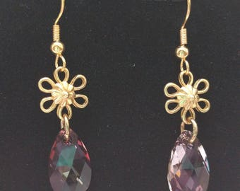 Crystal and Gold Flower Earrings