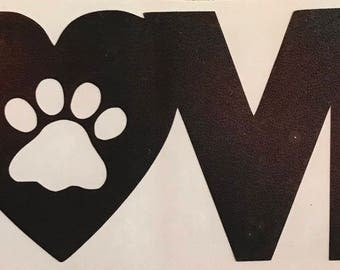 Love With Heart Paw Print Decal/Paw Print/Decal/Yetti Cup/Drinkware/Wine Glass