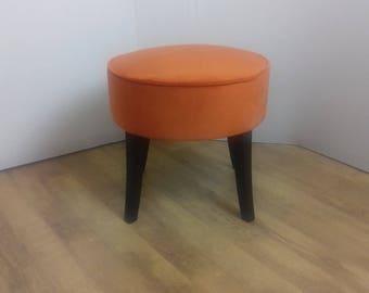 Burnt Orange Velvet Fabric Stool/Footstool