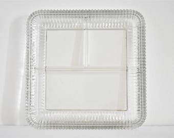 Vintage Clear Glass Square Serving Plate - Ribbed - Divided in 3 Parts