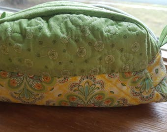Spring Green and Yellow Quilted Pouch with Zipper