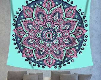 Turquoise tapestry,Blue mandala,Blue tapestry,Mandala tapestry,mandala wall decor,Mandala boho,Indian mandala,Indian tapestry,Bohemian decor