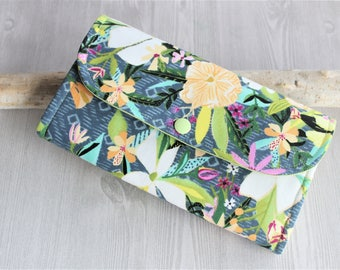 Tropic floral Wallet for women, wristlet fabric wallet, Accordion clutch wallet, iphone wallet, handmade womens wallets, gifts for her