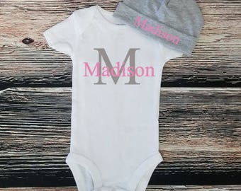 Monogram bodysuit, Baby shower gift, Personalized name bodysuit, Take home outfir