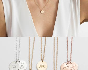 Initial Necklace, Gold, Rose Gold Initial Necklace, Initial Pendant, Initial Disc Necklace, Gold Engraved Necklace, Gold Disc Necklace