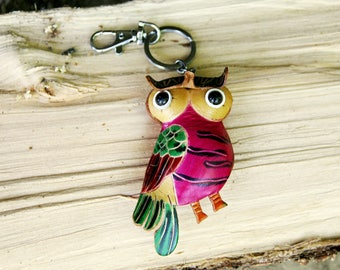 keychain anniversary gift|for|her bag accesories key ring bag charm leather keychain leather owl keychain bird keychain leather key chain