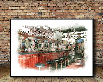 Cantina Bar Ajijic Watercolor Poster, Cantina Poster,                      Instant Download,Printable Art,Wall Decor,Poster Download,Mexico