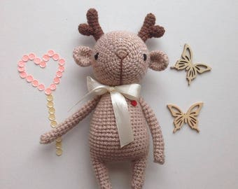 Brown deer, soft amigurumi toy, handmade crocheted deer, children toy