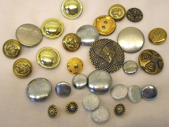 Vintage Metal Buttons Silver Gold Shades Bulk Lot