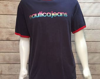 Vintage Colorful Rainbow Nautica Jeans Spell out T Shirt