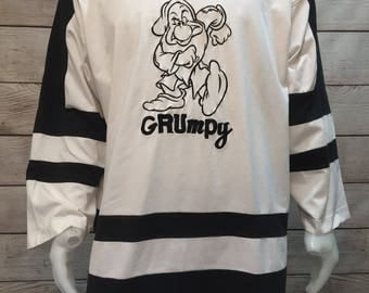 Rare Disney Grumpy Hockey Style Jersey Shirt