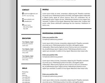 "Resume template 4 page | CV template + cover letter for MS Word | Instant digital download | Professional template | ""Mark"""