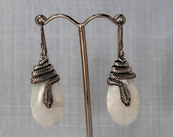 Serpent Sterling Silver Mother of Pearl Earrings