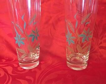Vintage Tea Glasses, Retro Teal Drinking Glasses, Retro Dining Glasses
