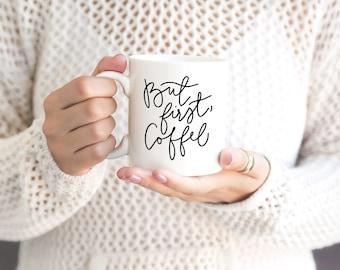 INSTANT SVG/DXF But First, Coffee script, svg, cut file, coffee svg, vector file, svg phrase, cricut, studio, trendy, cute, cursive