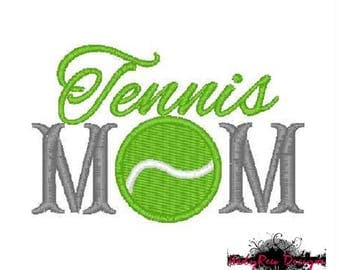 Tennis Mom Machine Embroidery Design - tennis ball fill stitch - 3 sizes