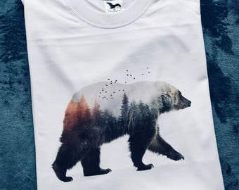 Bear and Forest shirt, Bear t shirt, Animal shirt, Spirit animal shirt, Nature t shirt, Bear print, Graphic t shirt, Graphic tee, Gift Him