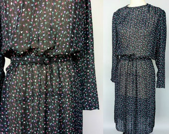 petals / 1980s sheer black floral long sleeve dress / medium - large