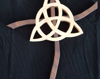 Celtic cross made from pine and walnut interwoven into cross