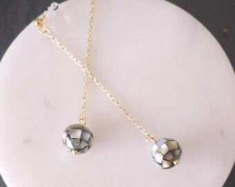 mosaic shell beads earrings, shell beads earrings, gold chain earrings, silver chain earrings,