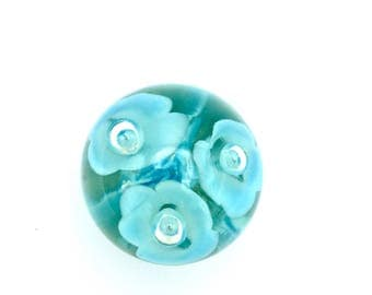 White Flower & Baby Blue Bubble or Teardrop Art glass Orb or Glass Floral Paperweight