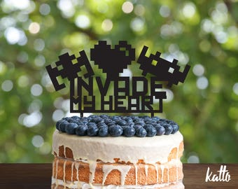 Martian Birthday Cake Topper- Geek cake topper- Invade my heart Cake Topper-Space Invaders Cake Topper- Personalized cake topper