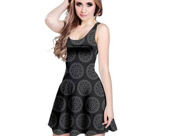Pentacle Dress - Skater Dress Pentagram Dress  Wiccan Dress Plus Size Dress Witch Dress Magical Dress Pagan Dress Halloween Dress Goth Dress