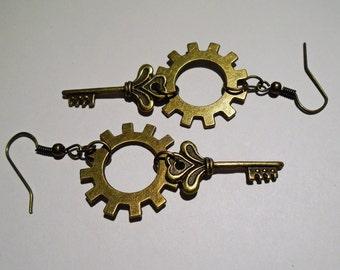 Cog & Key Steampunk Earrings
