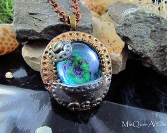 Necklace of Steampunk with blue green stone
