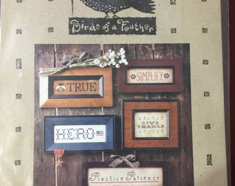 """Birds of a Feather """"Words"""" cross stitch pattern OOP"""