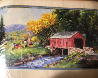 """Vintage 1991 Dimensions """"Rural Serenity"""" No Count Cross Stitch kit 18 by 10 inches without mat"""