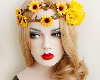 Daisy Flower Crown, Boho Flower Crown, Elastic Headband, Festival, Bohemian Garland, Flower Garland Headband, Yellow Daisy Headband
