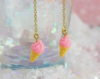 Sweet Fairy Kei Pastel Pink Ice Cream Cone Dangling Earrings