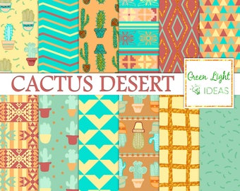 Cactus Digital Paper, Cacti Scrapbook Papers, Cacti Printable Papers, Southwest Digital Paper, Mexican Digital Papers, Desert Backgrounds