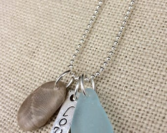 Petoskey Stone Necklace Blue Beach Glass and Love Charm, Petoskey stone jewelry, Beach glass necklace, Petoskey necklace, Lake Michigan rock
