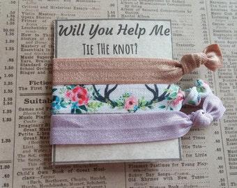 Beautiful Hair Ties, summer hair ties, Bachelorette favors, bridal shower, bridesmaid, wedding, tie the knot, bridesmaid proposal